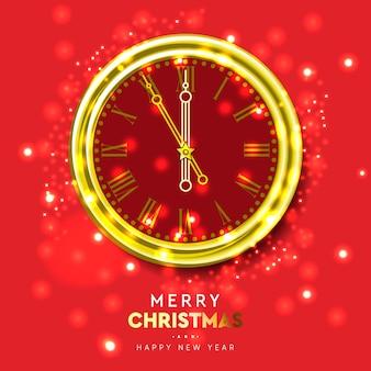 Relógio de ouro brilhante de ano novo, cinco minutos para a meia-noite. feliz natal.