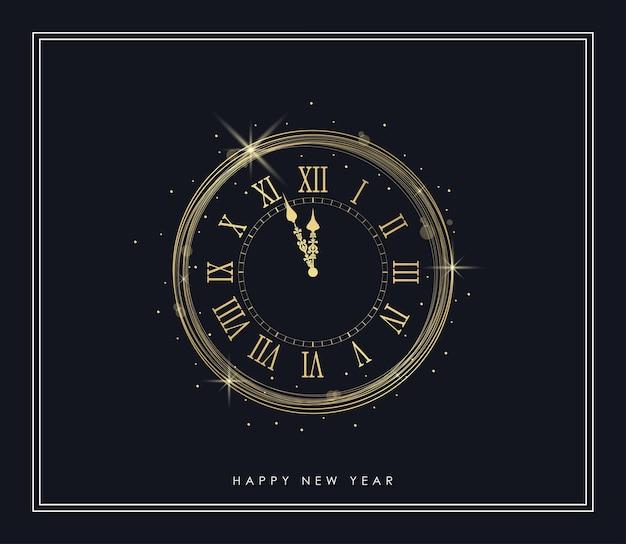 Relógio de ouro de ano novo com luzes brilhantes e moldura de brilhos dourados