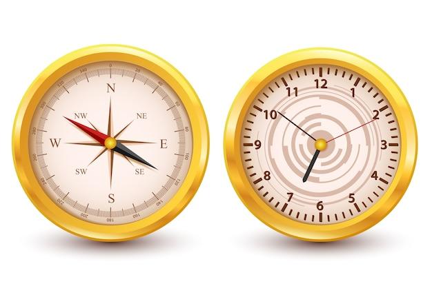 Relógio de ouro e bússola de luxo