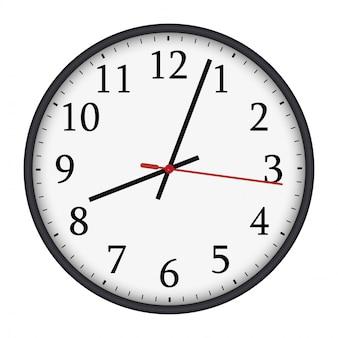 Relógio de parede redondo preto e branco clássico