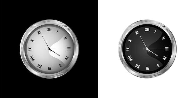 Relógio de parede vintage prateado