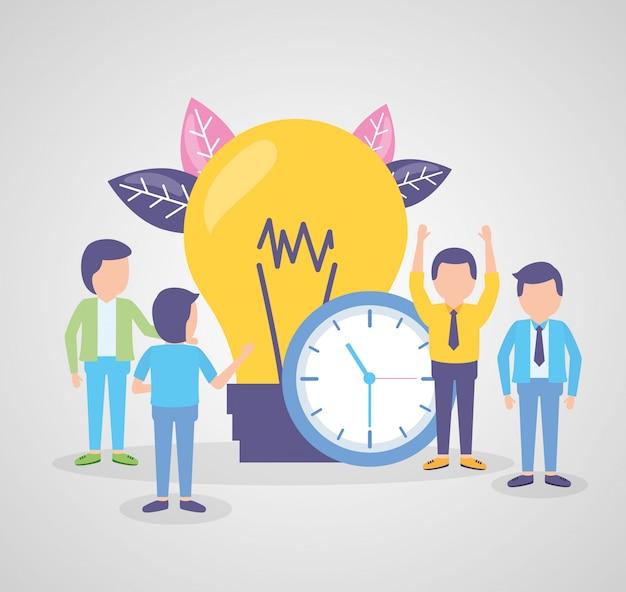 Relógio de ponto de pessoas de negócios