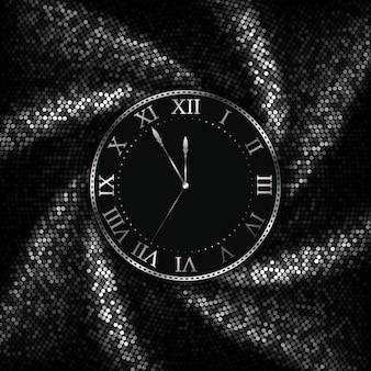 Relógio de prata com fundo de ano novo e natal