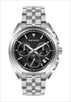 Relógio de pulso de disparo realístico de aço inoxidável face preta luxo.