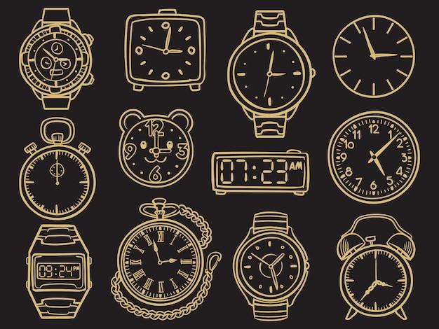 Relógio de pulso de mão desenhada, desenho de doodle relógios