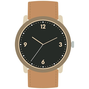 Relógio de pulso mecânico de design clássico isolado no fundo branco. mostrador de relógio com ponteiros das horas, minutos e segundos. ilustração vetorial.