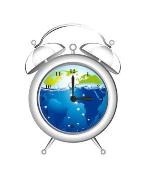 Relógio despertador com água e terra isolado