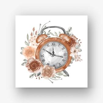 Relógio despertador flor bege pastel ilustração aquarela