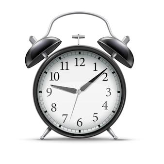 Relógio despertador preto realista 3d para design de conceito. ilustração do estilo vintage.
