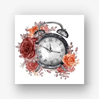 Relógio despertador rosa flor outono outono ilustração aquarela Vetor grátis