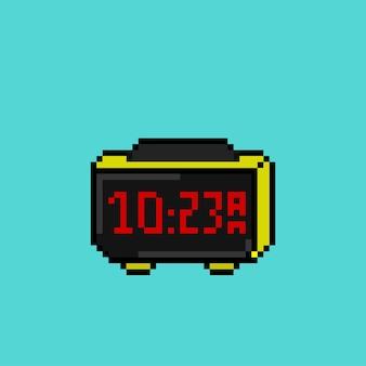 Relógio digital com estilo pixel art