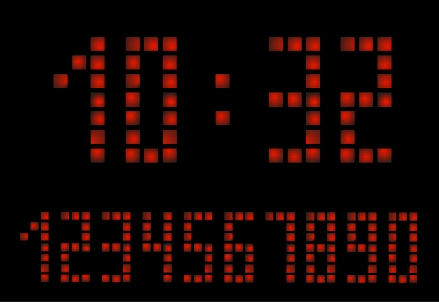 Relógio digital do apocalipse. letras do despertador. números definidos para um relógio digital e outros dispositivos eletrônicos.