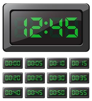Relógio digital vetorial e cronômetros com números verdes