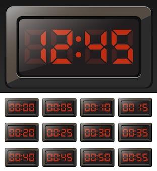Relógio digital vetorial e cronômetros com números vermelhos