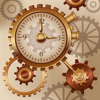 Relógio e rodas dentadas steampunk