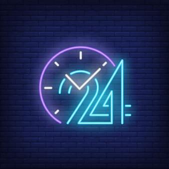Relógio, e, vinte, quatro horas, sinal néon