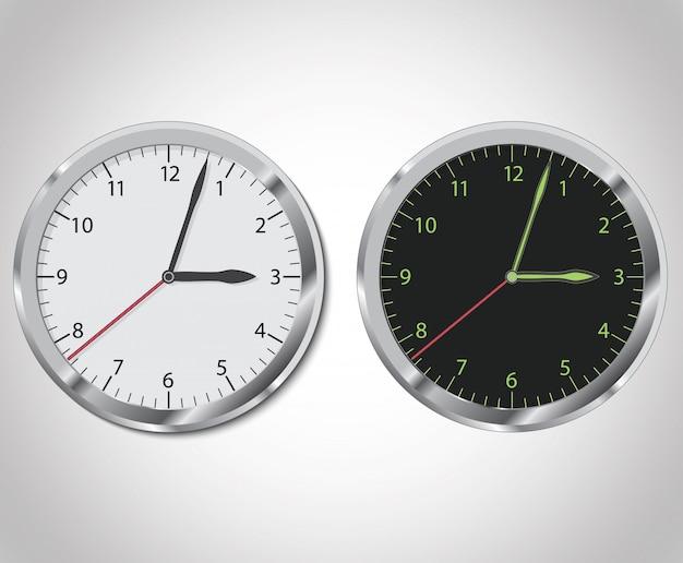 Relógio em conjunto preto e branco