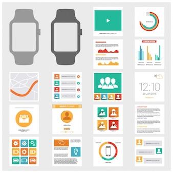 Relógio infográfico templates