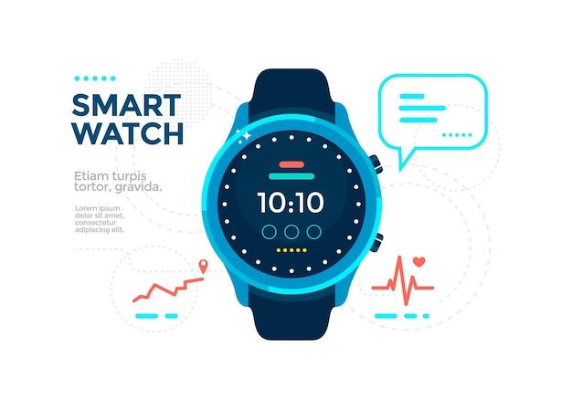 Relógio inteligente azul com app.