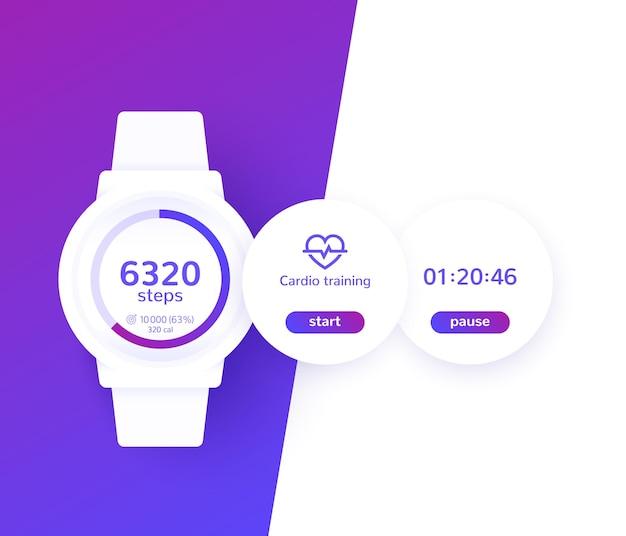 Relógio inteligente com aplicativo de condicionamento físico, rastreador de atividade, cronômetro e contador de passos, design de interface do usuário