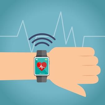 Relógio inteligente com coração e pulso
