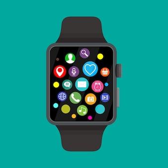 Relógio inteligente com ícones,