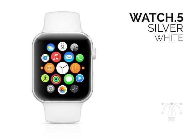 Relógio inteligente com ilustração realista de pulseira branca.