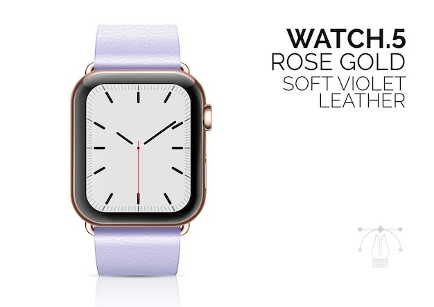 Relógio inteligente com ilustração realista de pulseira de couro violeta suave.