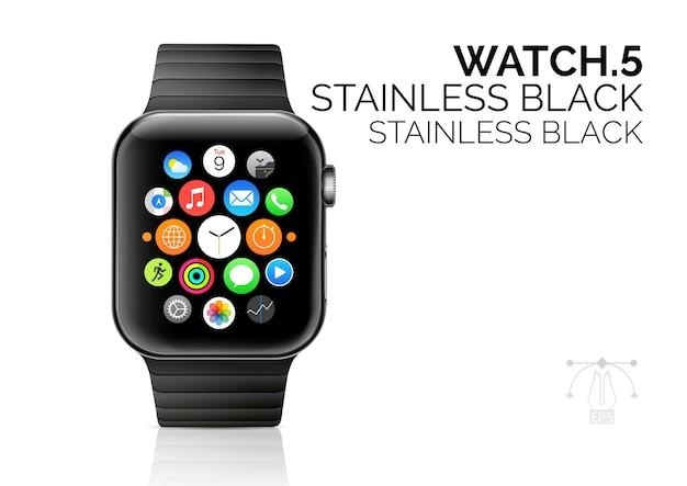 Relógio inteligente com ilustração realista de pulseira preta inoxidável.