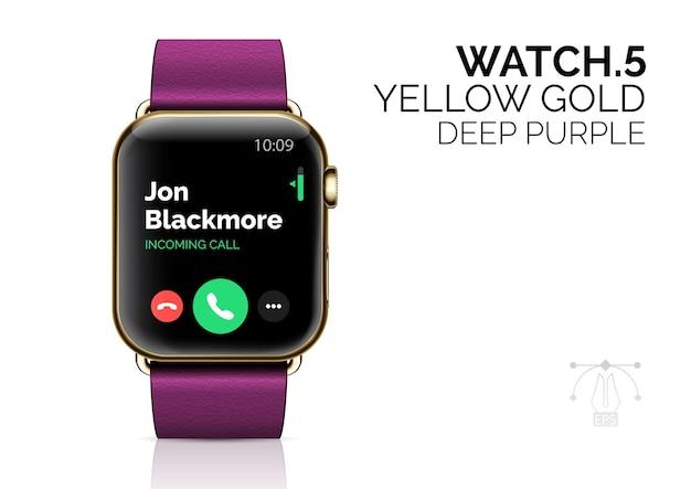 Relógio inteligente com ilustração realista de pulseira roxa escura.