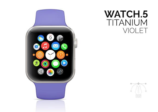 Relógio inteligente com ilustração realista de pulseira violeta.