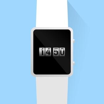 Relógio inteligente em preto e branco com exibição de imagem de relógio de rolo em fundo azul