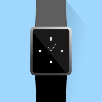 Relógio inteligente na cor preta com exibição do tempo em fundo azul claro com sombra estilo simples