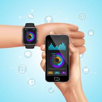 Relógio inteligente realista e composição da tecnologia móvel com sincronização do smartphone para assistir a ilustração vetorial