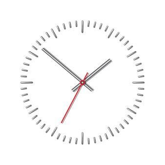 Relógio mecânico de parede isolado no branco