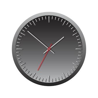 Relógio mecânico de parede preta. ilustração vetorial