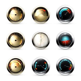 Relógio mecânico, dispositivos de carro, velocímetro, dispositivos de medição, conjunto de ícones de vetor