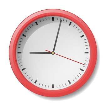 Relógio moderno com moldura vermelha