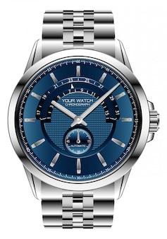 Relógio realista relógio cronógrafo azul prata aço luxo