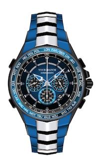 Relógio realista relógio cronógrafo azul prata preto aço design moda para homens elegância de luxo na ilustração de fundo branco.