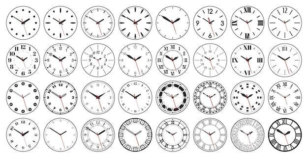 Relógio redondo mostra mostrador circular com algarismos romanos e árabes antigos