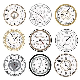 Relógio, relógio, alarmes, vetorial, ícones, ilustração