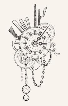 Relógio steampunk com correntes e engrenagens mecânicas