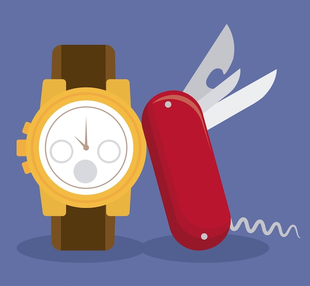 Relógio suíço e ícone de faca de bolso