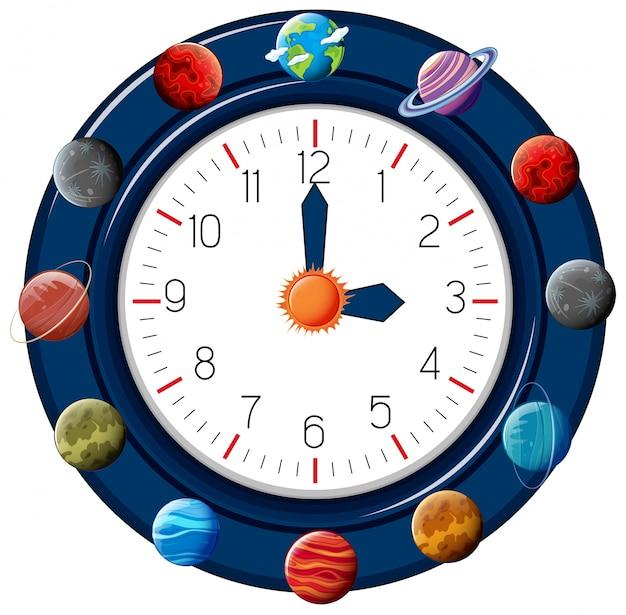 Relógio temático planeta divertido