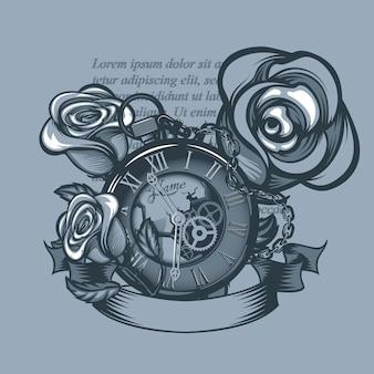 Relógio vintage e três rosas ao redor.