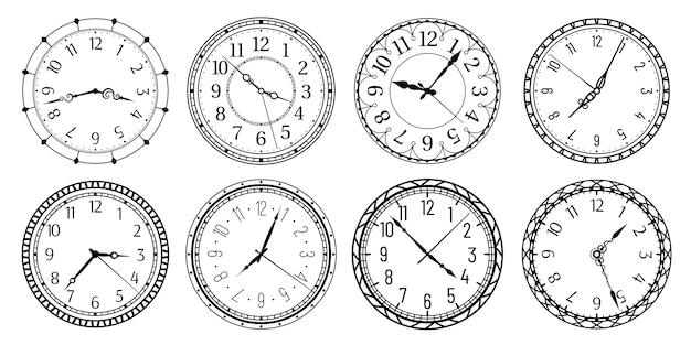 Relógios antigos com algarismos árabes, mostrador retro e relógios antigos.