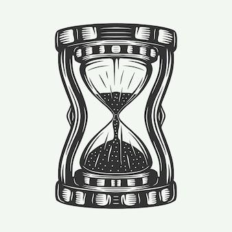 Relógios de ampulheta retro vintage podem ser usados como etiqueta de emblema de logotipo