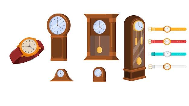 Relógios de diferentes tipos de ilustração vetorial