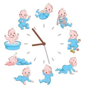 Relógios de rotina infantis diários. conceito de programação de crianças recém-nascidas, pôster de bebê bonito dos desenhos animados, criança loira infantil sorridente com roupas azuis em diferentes poses ilustração vetorial isolada no fundo branco